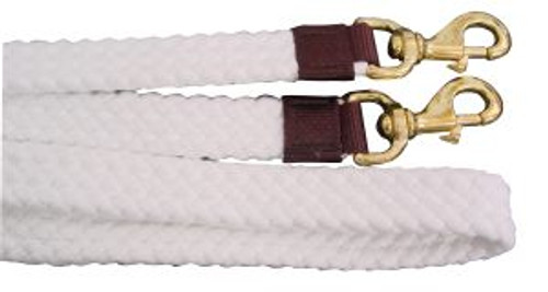 "Flat Braided Cotton Reins 7"" Brass Snap"