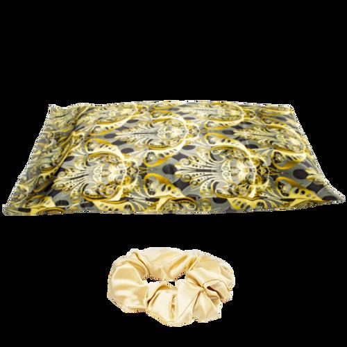 Fey'Kare 22 Momme 100% Mulberry Silk Pillowcase & Scrunchie Set (Golden Royalty)