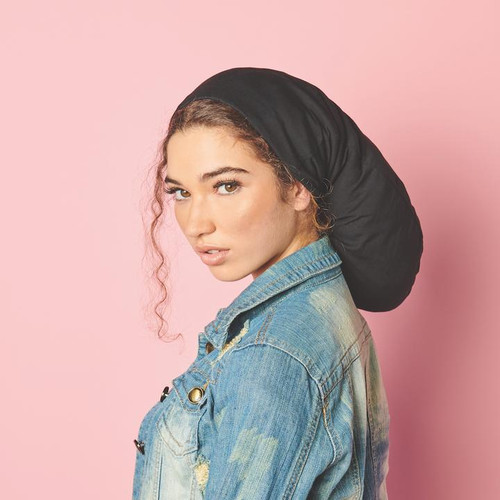 """Satin Lined Jersey Beanie - Extra Long 22""""  (Black)"""