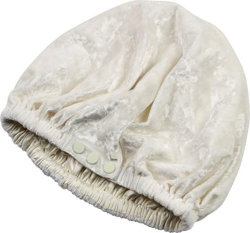 SwirlyCurly Nighttime Hair Bonnets with EdgeProtect™ (Pearl White Velvet)