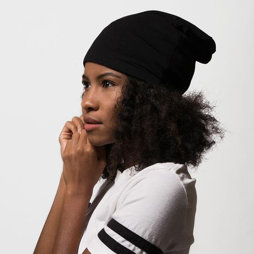 Satin Lined Jersey Beanie (Black)