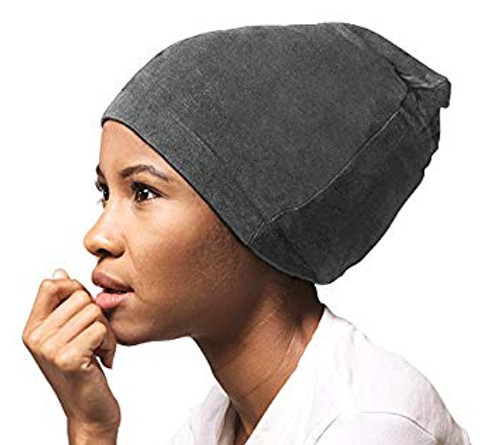 Satin Lined Jersey Beanie (Gray)