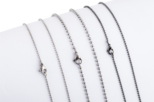 """Ball Chain 2.4mm  [16 to 30""""] Necklace with Lobter Clasp [41 to 76cm] - Brass Chrome"""