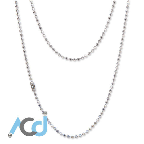 """Ball Chain 2.4mm [41 to 76cm] Necklace [16 to 30""""] - Brass Chrome (Colour)"""