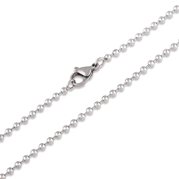 """Ball Chain 2.4mm  [16 to 30""""] Necklace with Lobster Clasp [41 to 76cm] - Stainless Steel"""