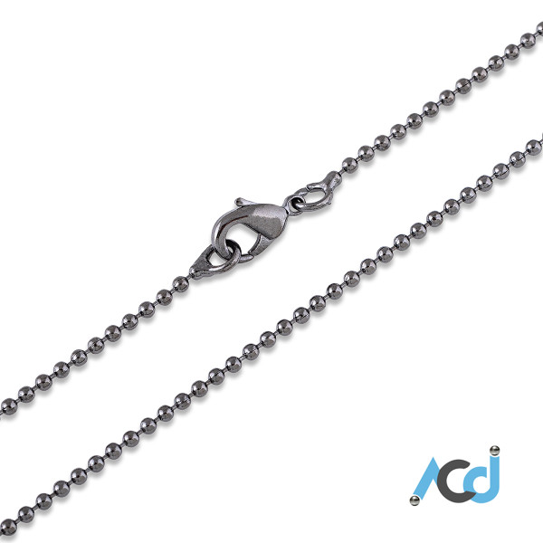 Demo: Black Chrome Chain Necklace with Lobster Clasp