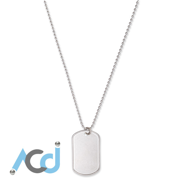 """Dog Tag Necklace [16 to 30""""] Single Rolled Edge Tag"""
