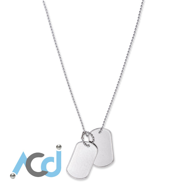 """Dog Tag Necklace [16 to 30""""] Dual Rolled Edge Tags - Army Style"""