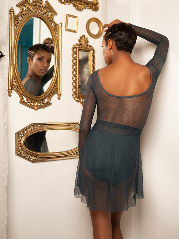 Fabiola Full Back Symphony Leotard with Short High-Low Skirt Diamond Mesh