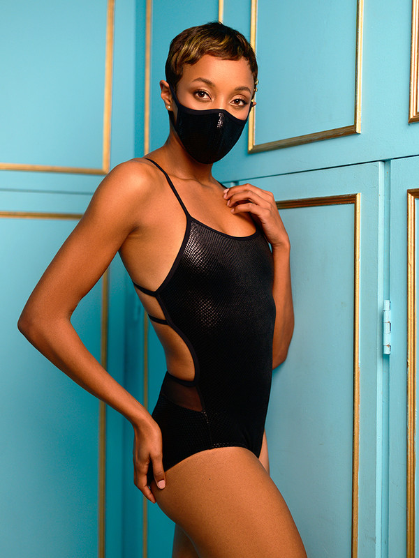 Renae Black Snake Velvet Leotard with Holiday Barrier Mask Black Snake Velvet