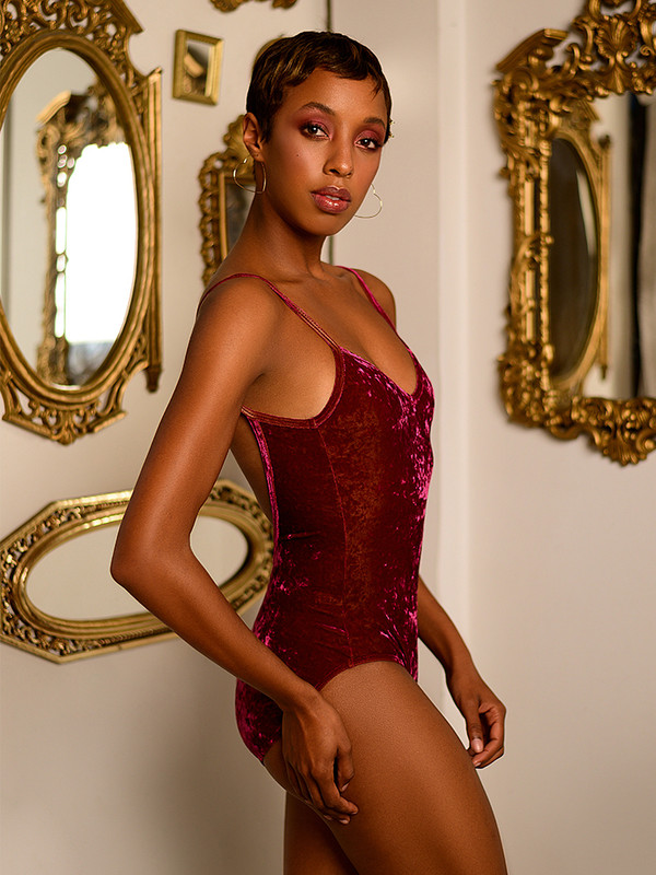 Hannah Raspberry Crushed Velvet Leotard
