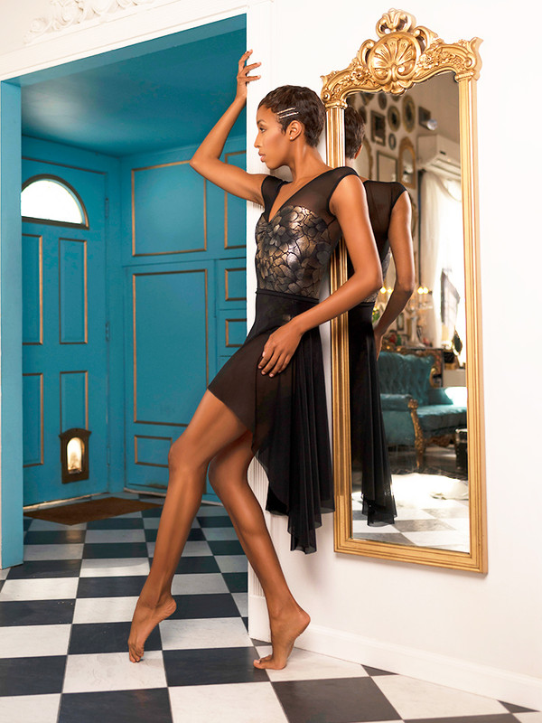 Kelsey Metallic Goddess Leotard with Dragonfly Short Skirt Black Mesh