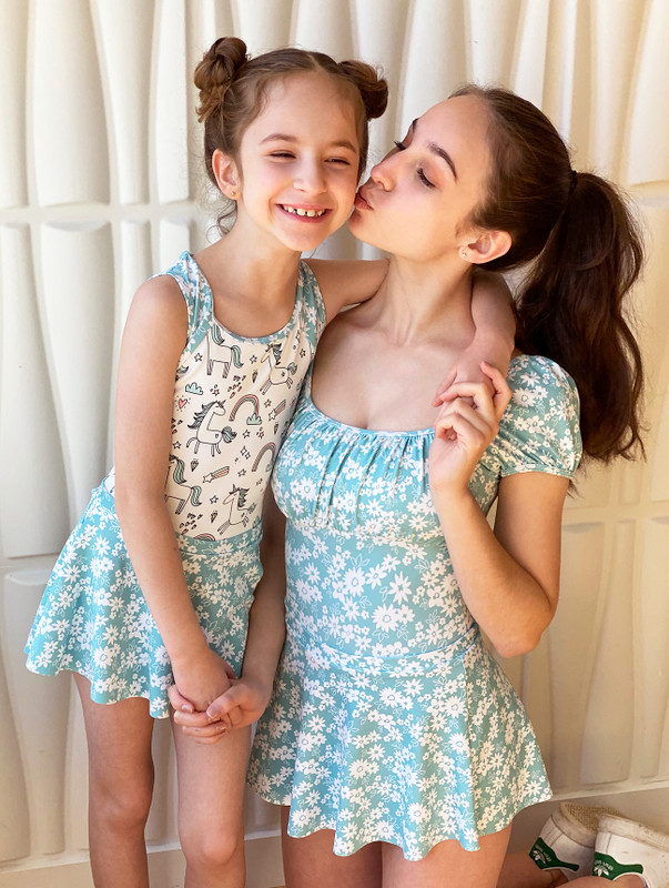 Cassie and Flare skirt in Blissful in Adult and Kids Emily Magic Moments with Flare Skirt in Blissful
