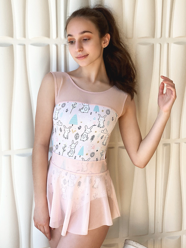 Laico Forest Bunnies with Hipster Skirt in Powder Pink