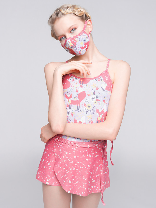Lacey Foxtrot with Wrap Skirt Floating Flora with matching Barrier Mask.