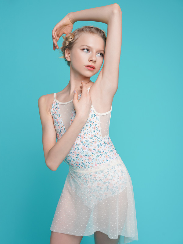 Brooke Fairy Garden paired with Short High-Low Skirt Ivory Dot Mesh RTW