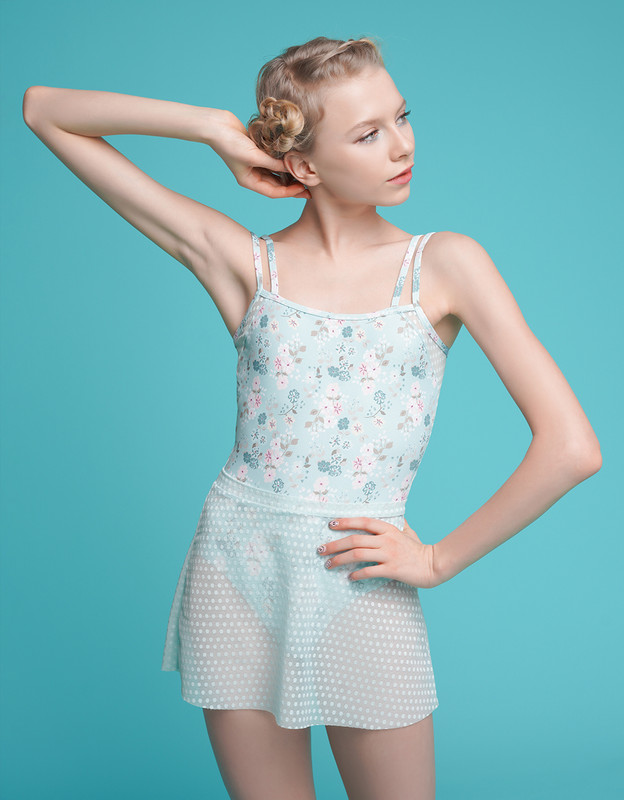 A-Line Skirt Powder Blue Dot Lace RTW