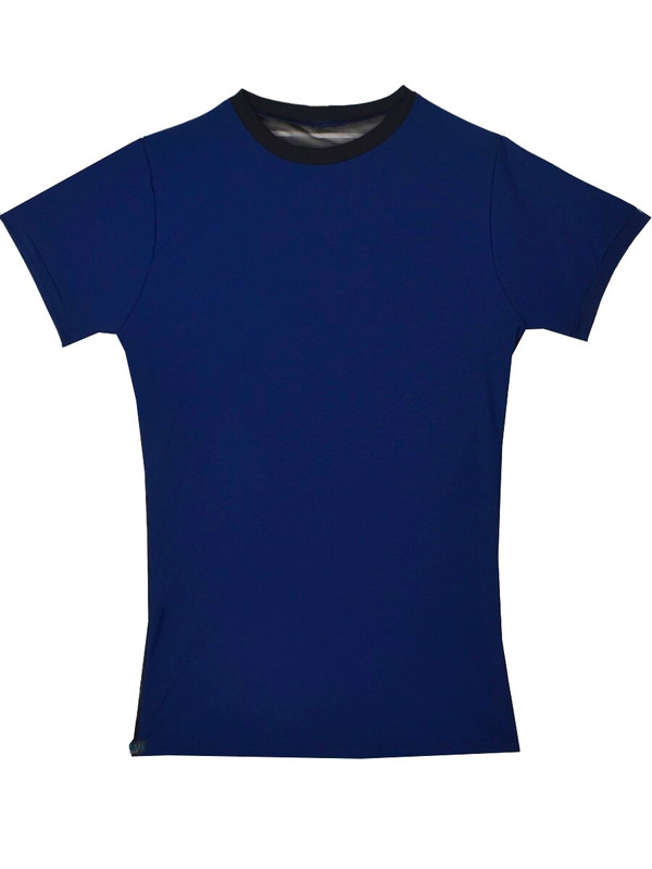 Gabe Shirt in Navy Matte with Flat Line Mesh and Black Trim