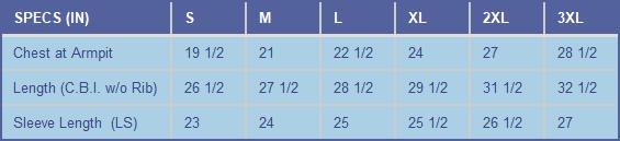Xtreme-Tek Performance Long Sleeve Shirt Size Chart