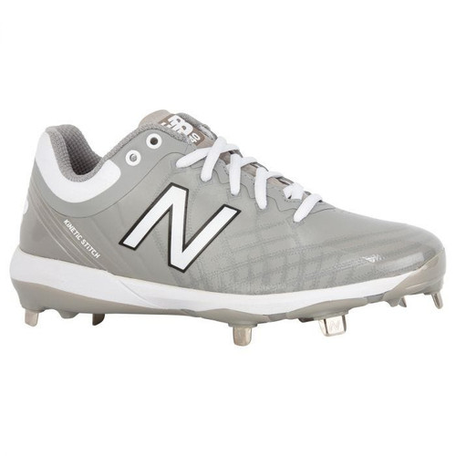 New Balance 4040v5 Metal Low Baseball Cleats- Grey/ White