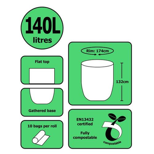 Biodegradable / Compostable Cornstarch 140 Litre Wheelie Bin Liners