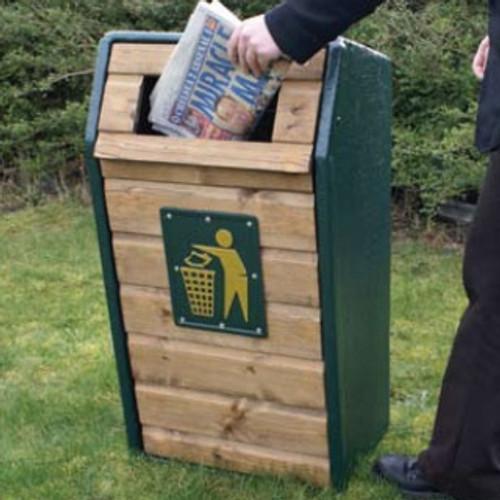 RLA Timber Fronted Semi-Open Top Litter Bin