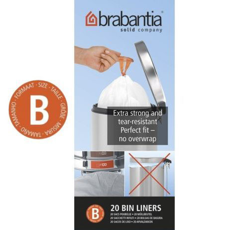 Brabantia Size B SmartFix Perfect Fit Bin Liners 5 Litre 20 Bags Roll