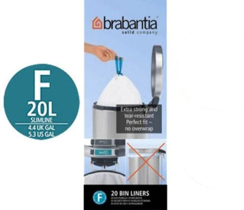 Brabantia Size F SmartFix Perfect Fit Bin Liners Slim 20 Litre 20 Bags Roll