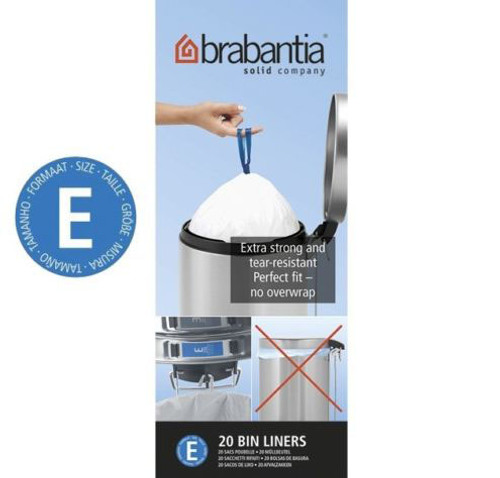 Brabantia Size E SmartFix Perfect Fit Bin Liners 20 Litre 20 Bags Roll