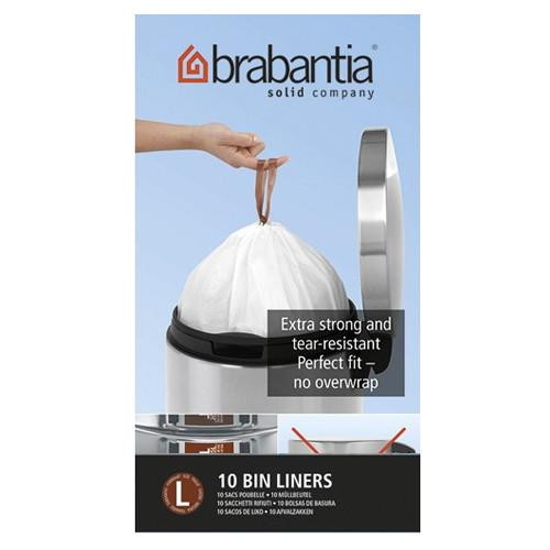 Brabantia Size L SmartFix Perfect Fit Bin Liners 45 Litre Roll of 10 Liners