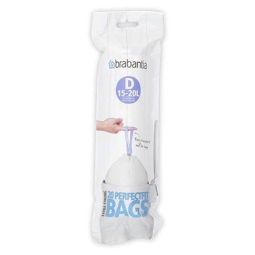Brabantia Size D SmartFix Perfect Fit Bin Liners 15-20 Litre 20 Bags Roll - Liners Per Roll