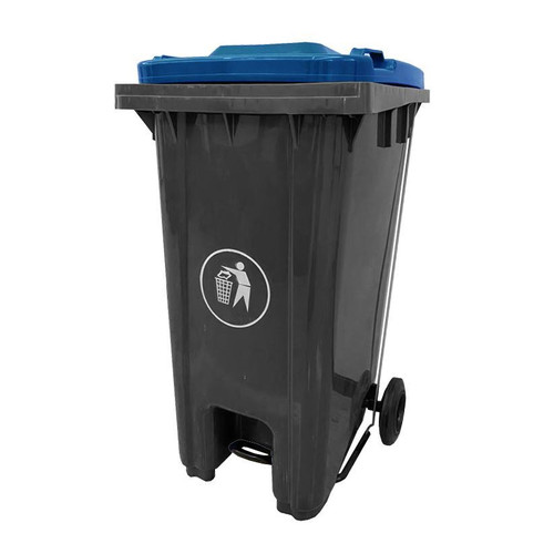 GPC Industries 120L Pedal Wheeled Bin with Coloured Lid