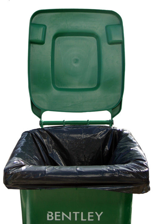 An image of 240ltr Large Black Superior Recycled Wheelie Bin Liners