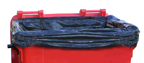 An image of 1100 Litre Heavy Duty Black Wheeled Bin Liner
