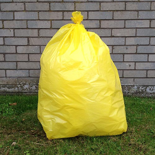 """An image of Yellow Refuse Sack 18x29x39"""" 20kg 160g"""