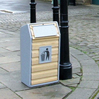 An image of RLA Timber Fronted Semi-Open Top Litter Bin