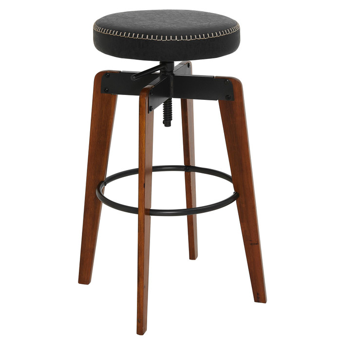 New Pacific Direct Nelson Kd Pu Adjustable Stool, Vintage Black 9300109-240