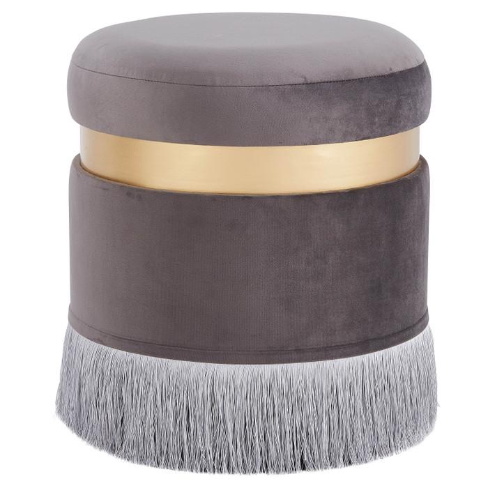 New Pacific Direct Suri Velvet Fabric Fringe Round Storage Ottoman 1600041-313