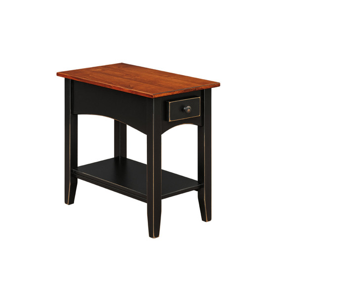 103 Chairside Table With Shelf Wormy Maple Top By Forest Ridge Woodworking