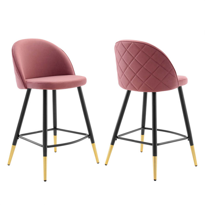 EEI-4529-DUS Cordial Performance Velvet Counter Stools - Set Of 2 By Modway