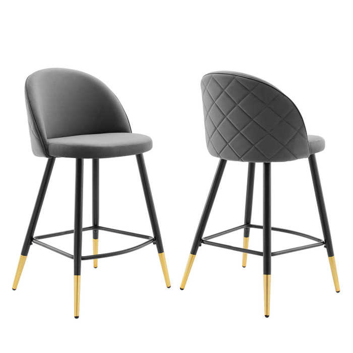 EEI-4529-GRY Cordial Performance Velvet Counter Stools - Set Of 2 By Modway