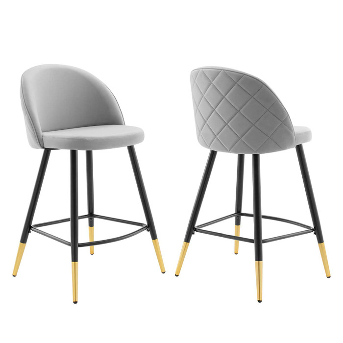 EEI-4529-LGR Cordial Performance Velvet Counter Stools - Set Of 2 By Modway