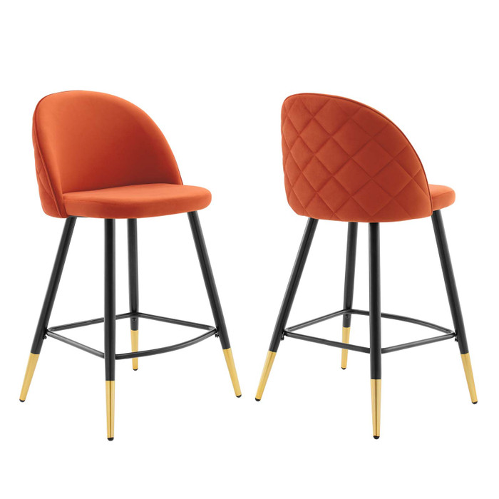 EEI-4529-ORA Cordial Performance Velvet Counter Stools - Set Of 2 By Modway