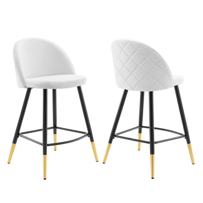 EEI-4529-WHI Cordial Performance Velvet Counter Stools - Set Of 2 By Modway