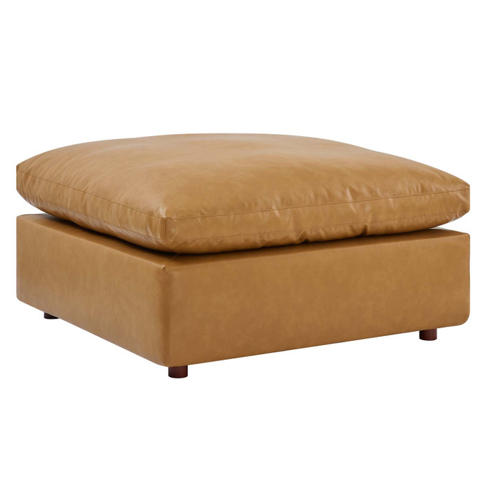EEI-4695-TAN Commix Down Filled Overstuffed Vegan Leather Ottoman By Modway