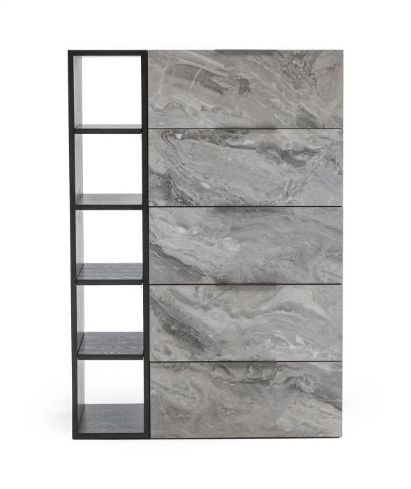 Nova Domus Maranello - Modern Grey Wash & Faux Marble Chest VGMAMQT-S25-BR-121-GRY-CHEST