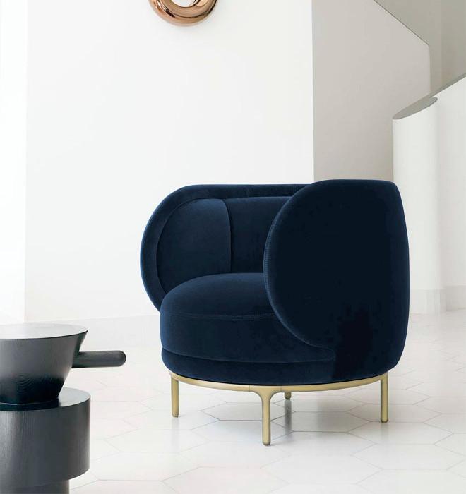 Divani Casa Eckley - Blue Velvet Accent Chair VGMFOC-2174-BLU-CH