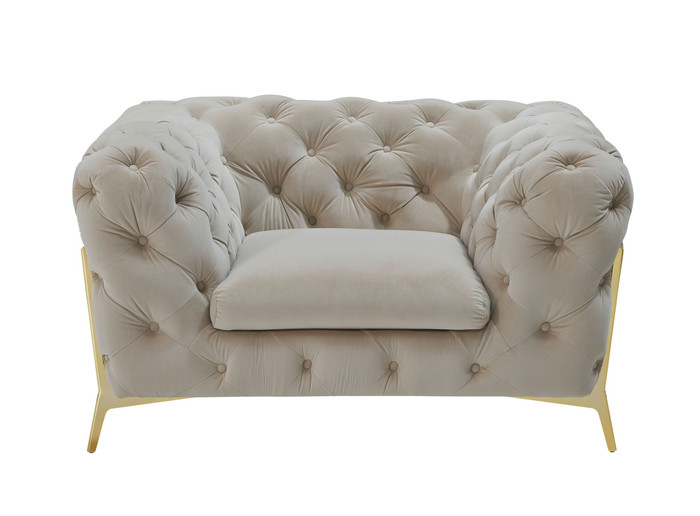 Divani Casa Quincey - Transitional Beige Velvet Chair VGKNK8520-BEI-CH