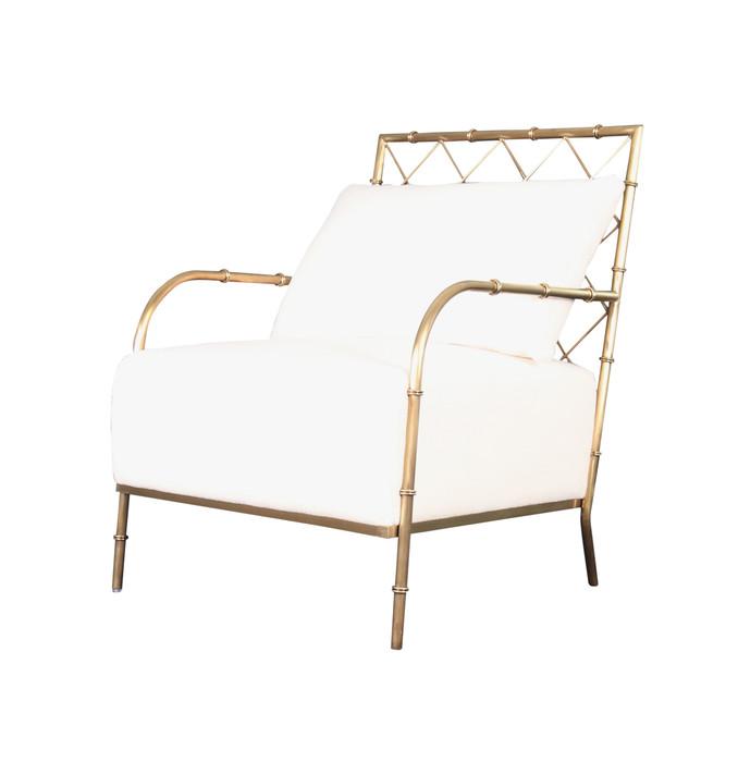Divani Casa Ignacio - Glam White Velvet & Gold Accent Chair VGMFOC-2211-WHT-CH