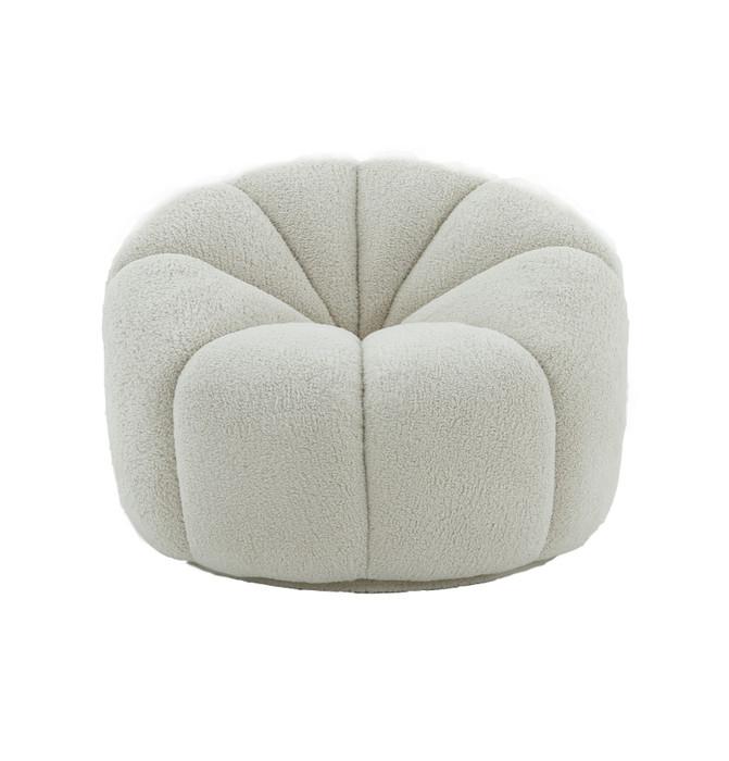 Divani Casa Gadson - Contemporary White Sherpa Accent Chair VGODZW-20094-WHT-CH